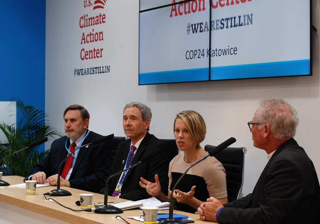 Ashley Allen, Climate and Land Senior Manager at Mars Incorporated, second from right, speaks at the launch of the U.S. Climate Action Center in Katow