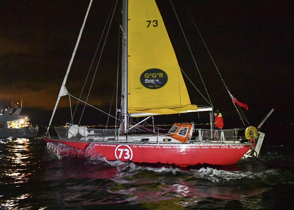British yachtswoman Susie Goodall sailing her Rustler 36 yacht DHL STARLIGHT on arrival at Hobart, Australia, Oct. 30, 2018, arriving in 4th place in