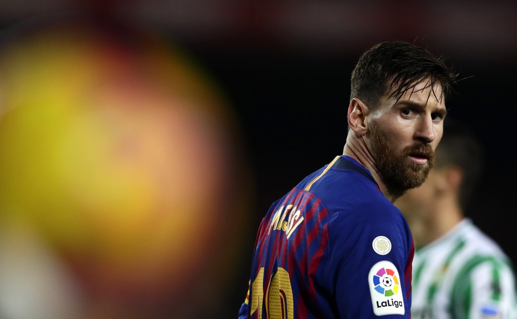 FILE - In this Sunday, Nov. 11, 2018 file photo, FC Barcelona's Lionel Messi looks on during the Spanish La Liga soccer match between FC Barcelona and