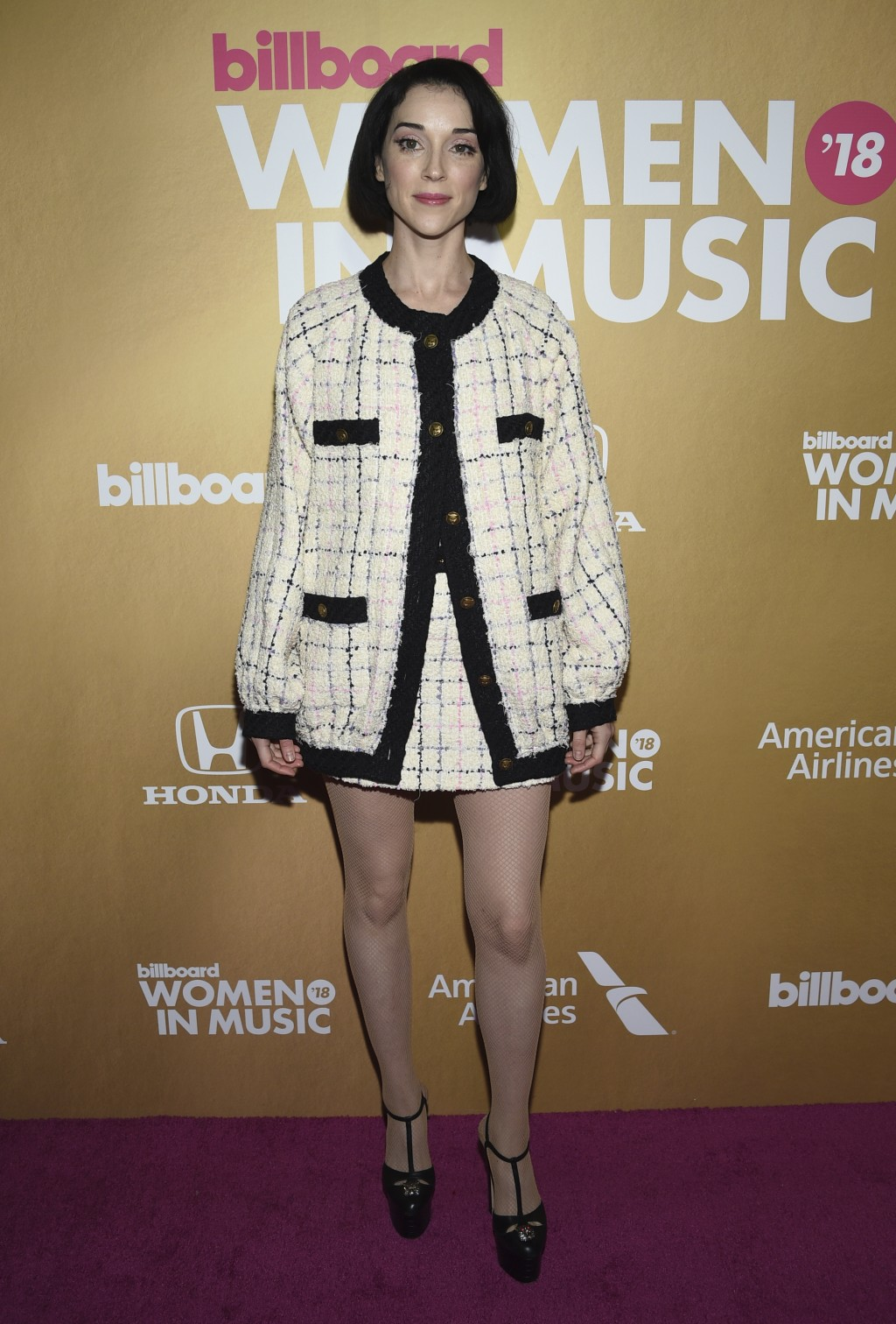 St. Vincent attends the 13th annual Billboard Women in Music event at Pier 36 on Thursday, Dec. 6, 2018, in New York. (Photo by Evan Agostini/Invision
