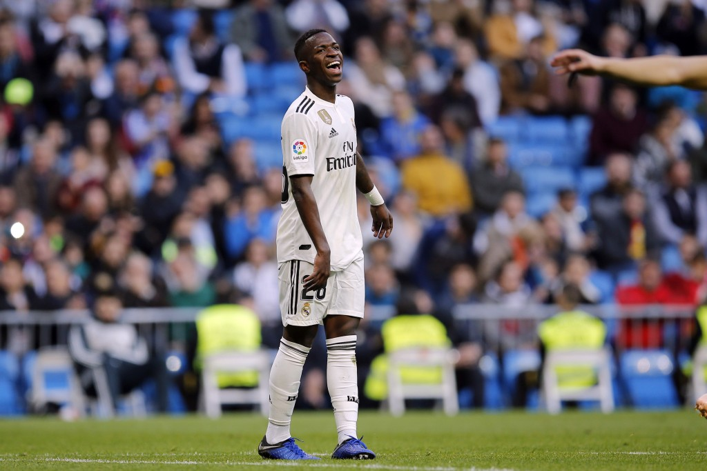 Real Madrid's Vinicius Junior reacts during a round of 32, 2nd leg, Spanish Copa del Rey soccer match between Real Madrid and Melilla at the Santiago