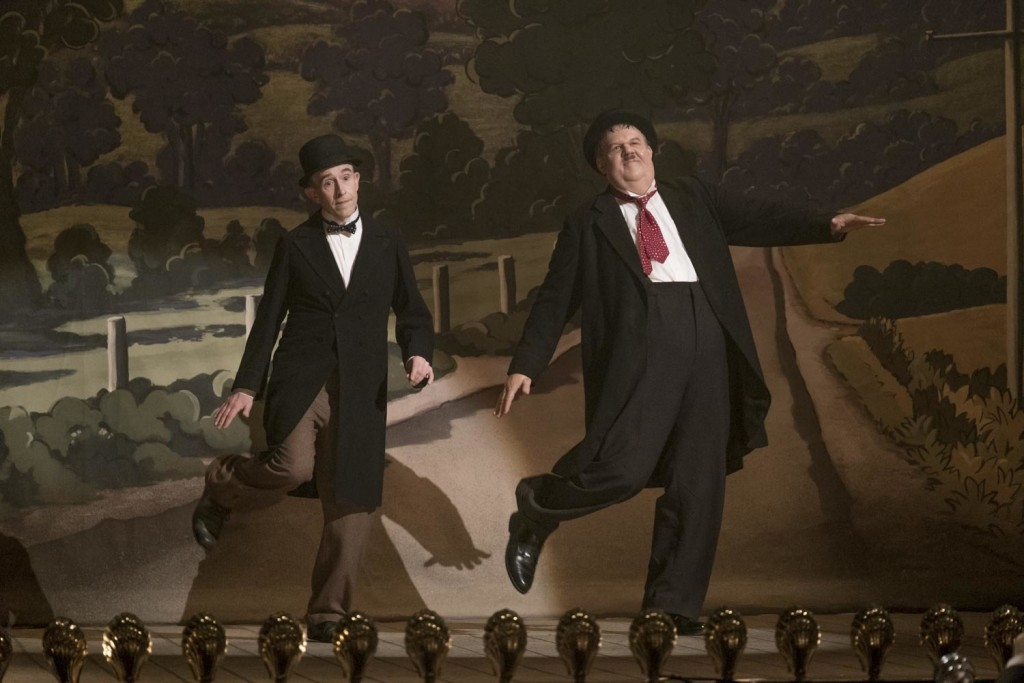"""This image released by Sony Pictures Classics shows Steve Coogan as Stan Laurel, left, and John C. Reilly as Oliver Hardy in a scene from """"Stan & Olli..."""