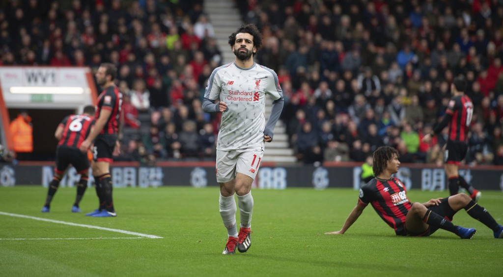 Liverpool's Mohamed Salah celebrates scoring his side's second goal of the game during their English Premier League soccer match against Bournemouth a