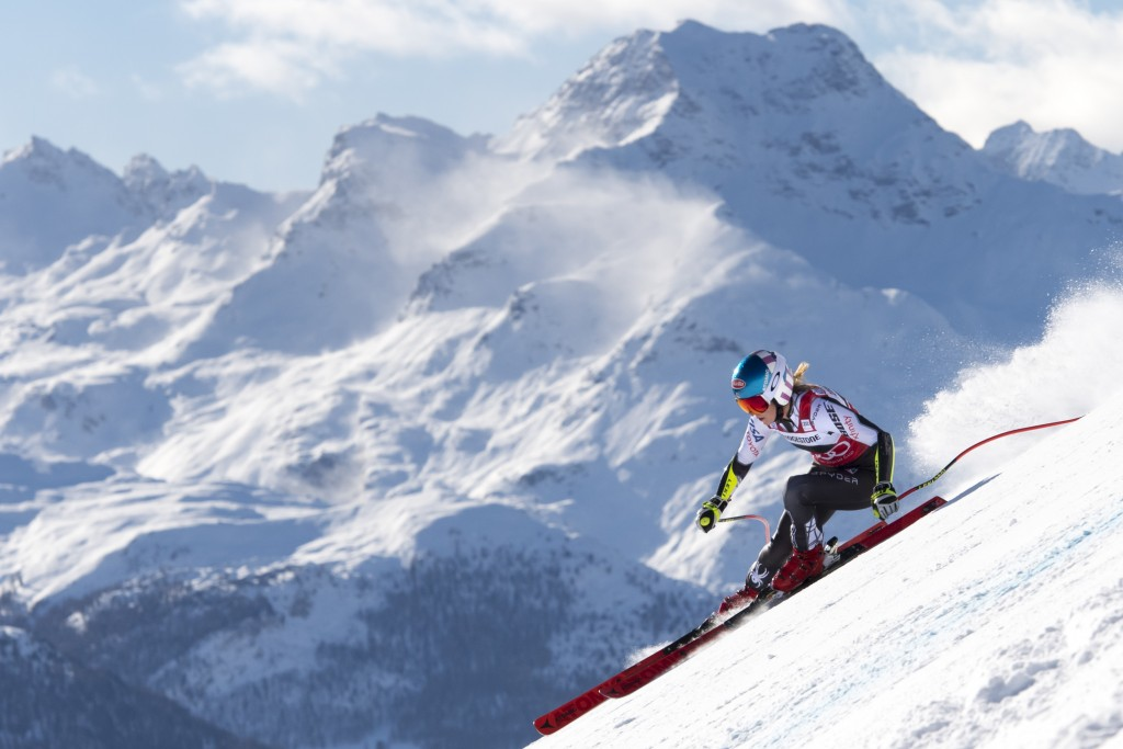 Mikaela Shiffrin of the US competes during the women's Super-G race at the Alpine Ski World Cup, in St. Moritz, Switzerland, Saturday, Dec 8, 2018. (J