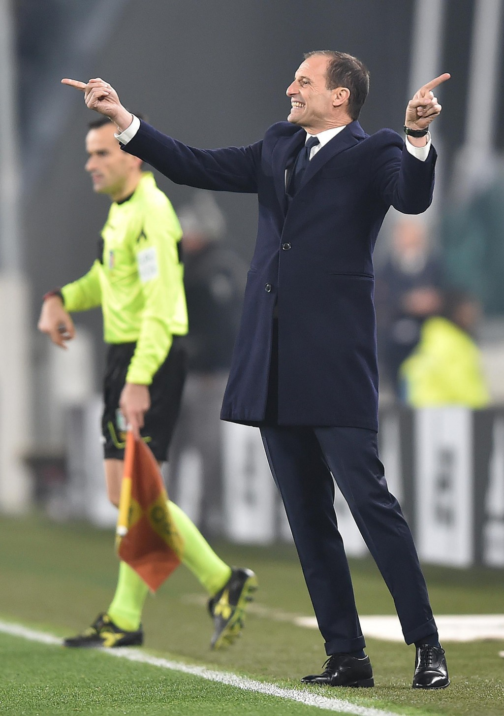 Juventus coach Massimiliano Allegri gestures during the Serie A soccer match between Juventus and Inter Milan at the Turin Allianz stadium, Italy, Fri