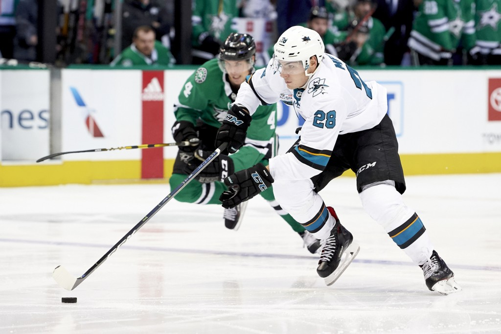 San Jose Sharks right wing Timo Meier (28) controls the puck against the Dallas Stars during the second period of an NHL hockey game Friday, Dec. 7, 2