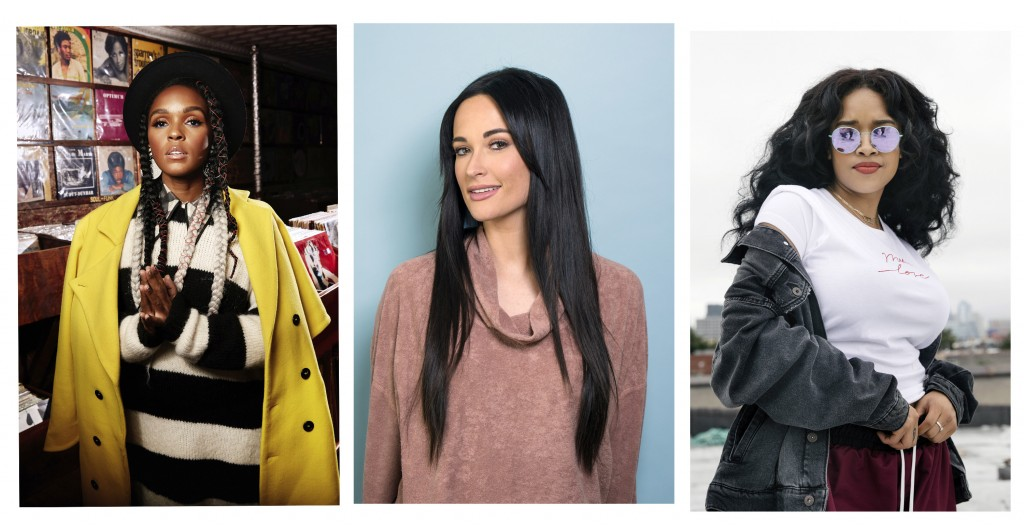 FILE - This 2018 combination of file photo shows, Janelle Monae, from left, Kacey Musgraves, and H.E.R. in New York. Female musicians who not only wri