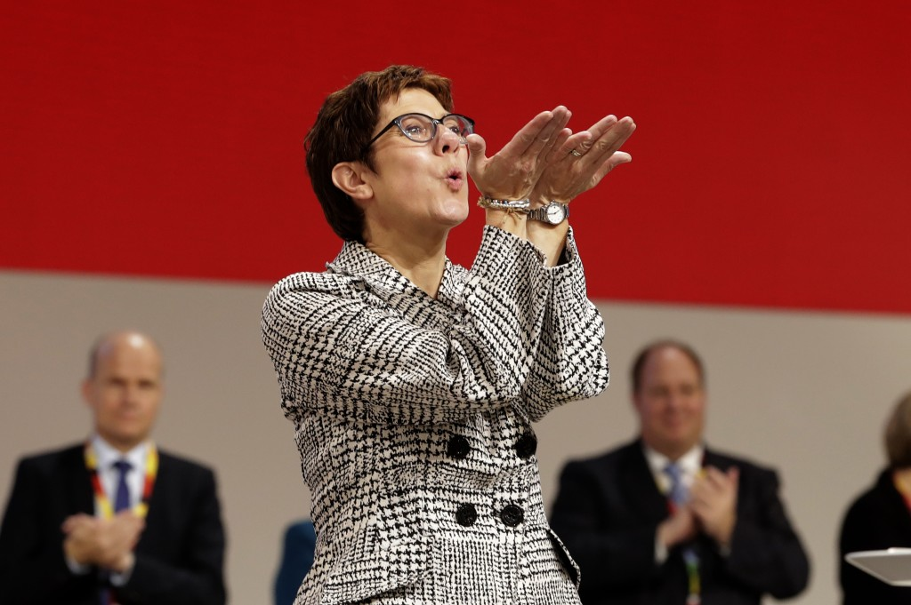 Newly elected CDU chairwoman Annegret Kramp-Karrenbauer blows a kiss at the party convention of the Christian Democratic Party CDU in Hamburg, Germany