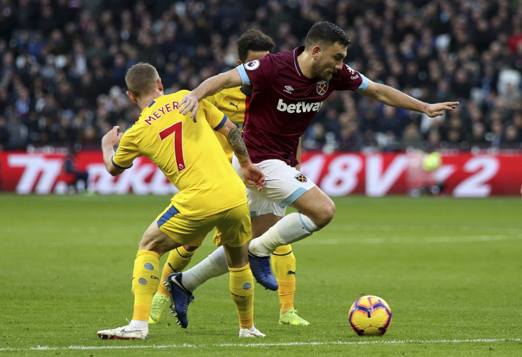 Crystal Palace's Max Meyer, left, and West Ham United's Robert Snodgrass battle for the ball during their English Premier League soccer match at The L