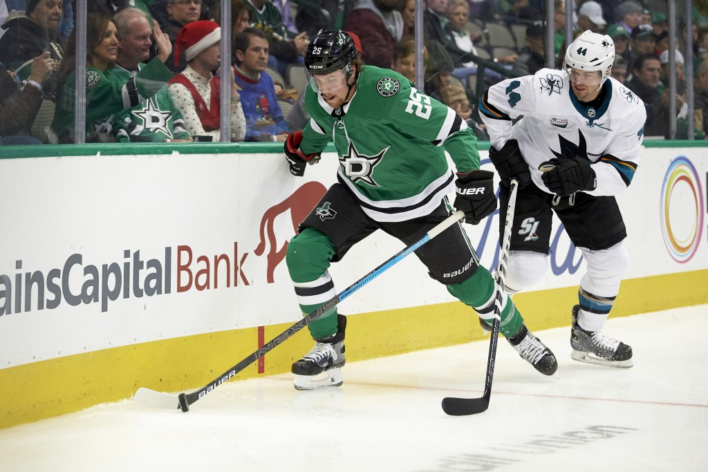 Dallas Stars right wing Brett Ritchie (25) controls the puck against San Jose Sharks defenseman Marc-Edouard Vlasic (44) during the first period of an