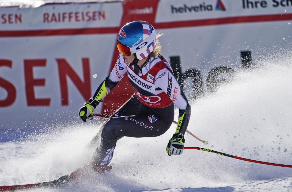 United States' Mikaela Shiffrin arrives at the finish area of a women's World Cup super-G in St. Moritz, Switzerland, Saturday, Dec. 8, 2018. (AP Phot