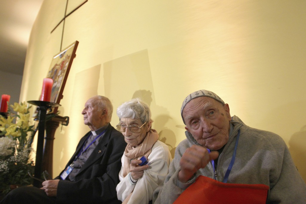 This picture dated Friday, Dec. 7, 2018, shows French Catholic monk Brother Jean-Pierre Schumacher, right, the last survivor of the hostage taking of