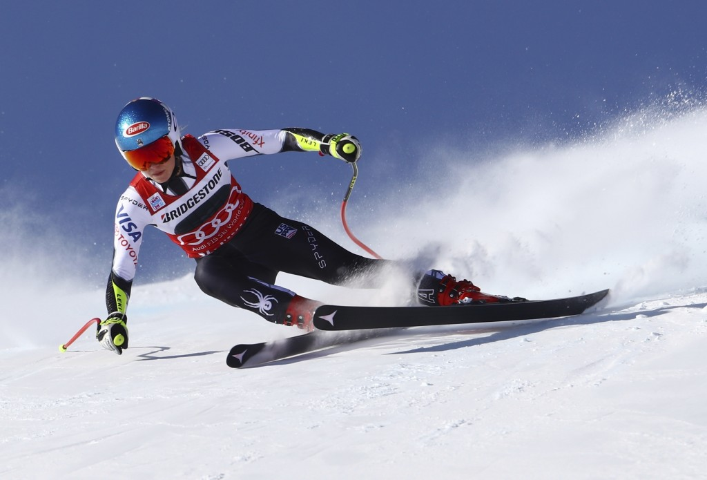 United States' Mikaela Shiffrin speeds down the course during a women's World Cup super-G in St. Moritz, Switzerland, Saturday, Dec. 8, 2018. (AP Phot