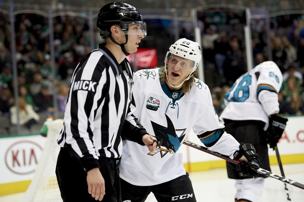 San Jose Sharks left wing Marcus Sorensen (20) has words with an official while a play is reviewed  during the second period of an NHL hockey game aga