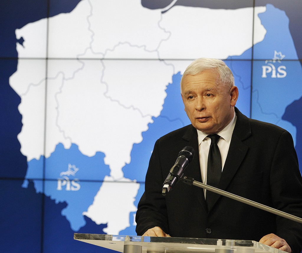 FILE- In this Nov. 6, 2018, file photo the leader of Poland's populist ruling party, Jaroslaw Kaczynski, speaks to the media in Warsaw, Poland. At his