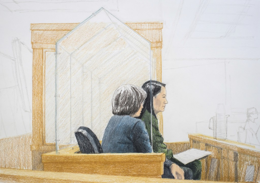 In this courtroom sketch, Meng Wanzhou, right, the chief financial officer of Huawei Technologies, sits beside a translator during a bail hearing at B...