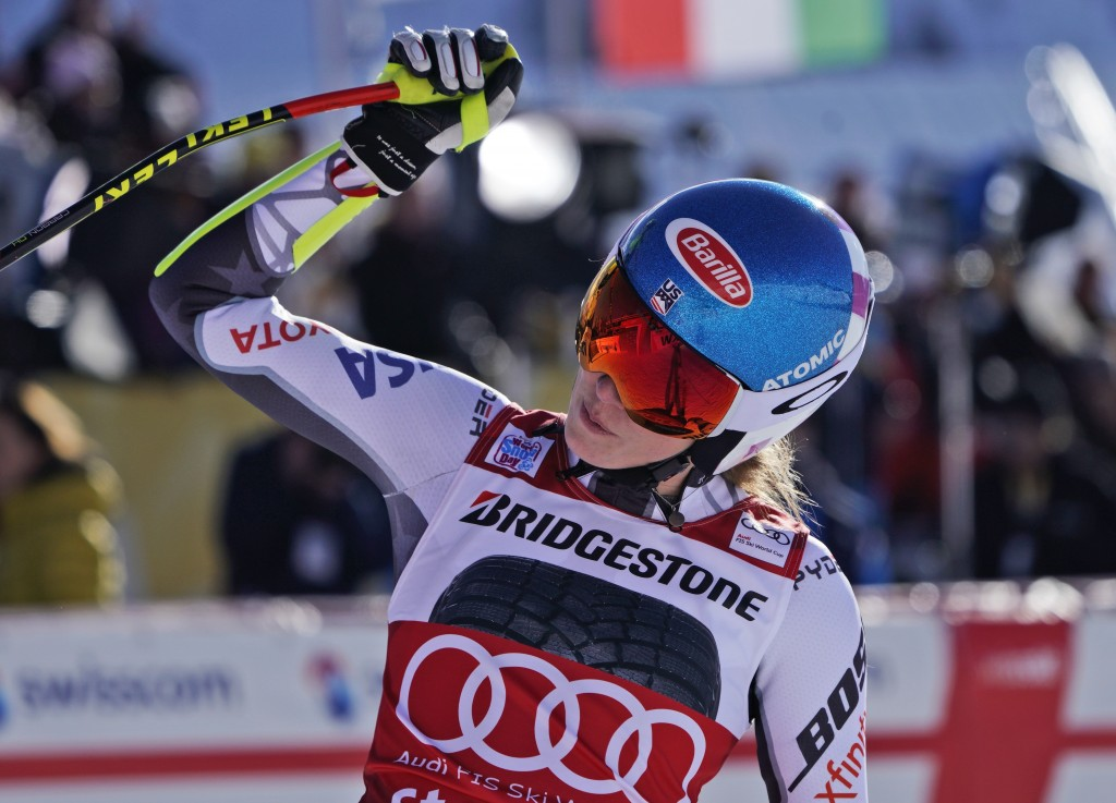 United States' Mikaela Shiffrin celebrates at the finish area of a women's World Cup super-G in St. Moritz, Switzerland, Saturday, Dec. 8, 2018. (AP P