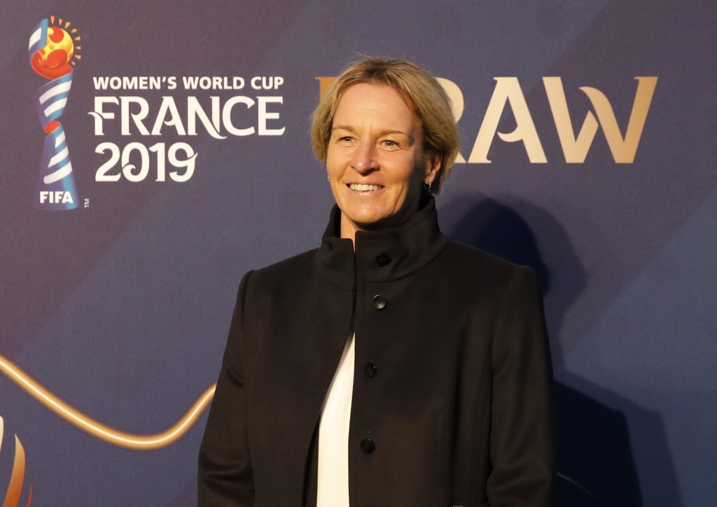 Germany coach Martina Voss-Tecklenburg smiles prior to the women's soccer World Cup France 2019 draw, in Boulogne-Billancourt, outside Paris, Saturday