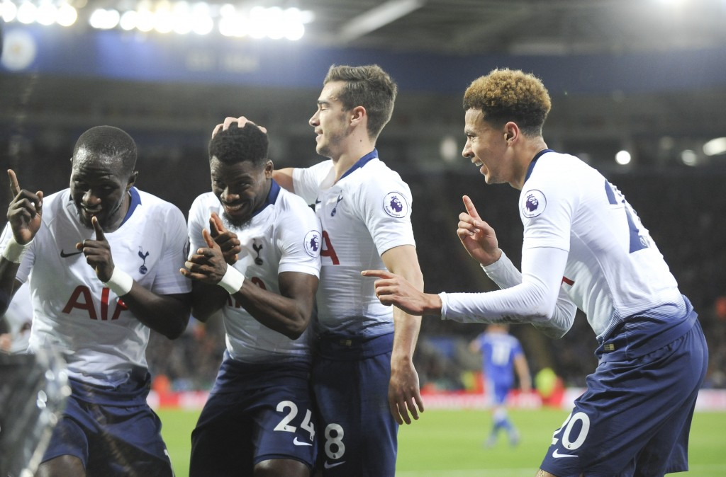Tottenham's players celebrate after scoring their side's second goal during the English Premier League soccer match between Leicester City and Tottenh