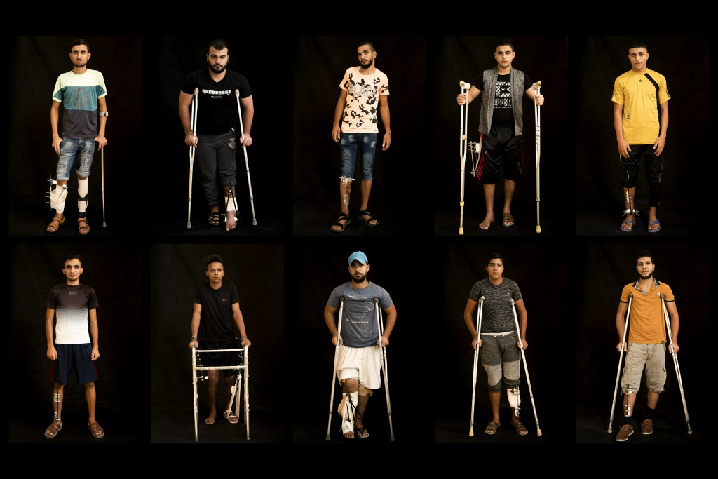 In this combination of 10 photos taken on Sept. 19, 2018, Palestinians shot in the legs during demonstrations at the Gaza strip's border with Israel p...