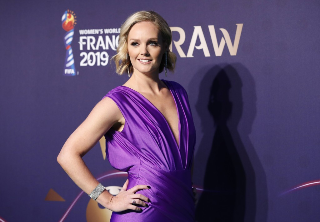 Amanda Davies poses prior to the women's soccer World Cup France 2019 draw, in Boulogne-Billancourt, outside Paris, Saturday, Dec. 8, 2018. (AP Photo/