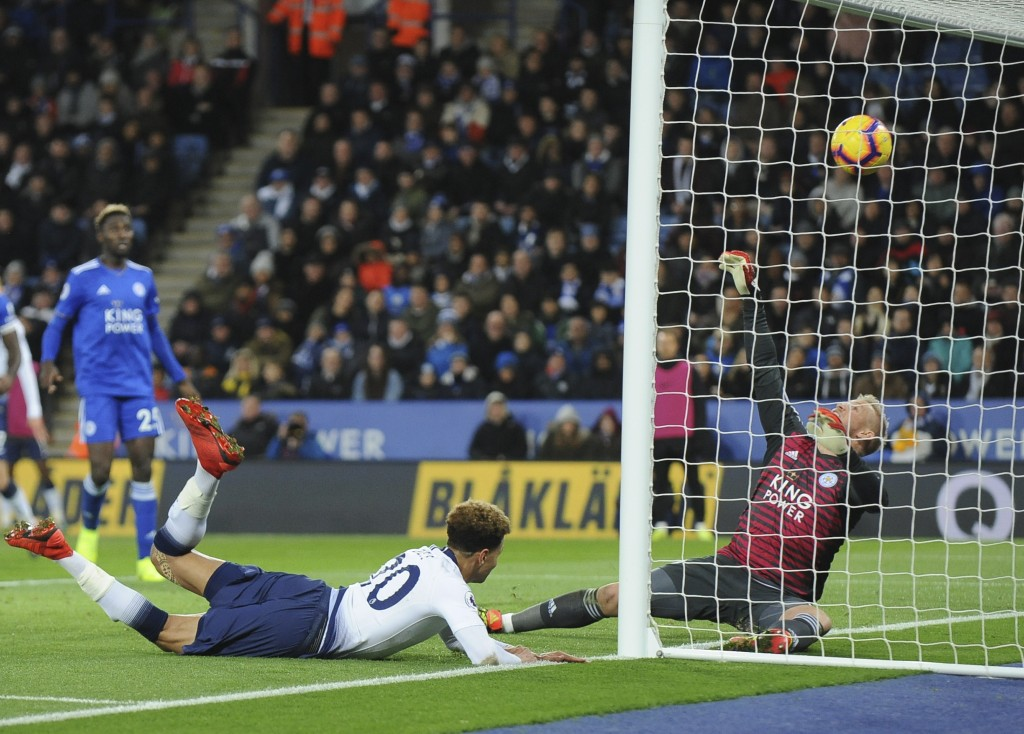 Tottenham's Dele Alli scores his side's second goal during the English Premier League soccer match between Leicester City and Tottenham Hotspur at the