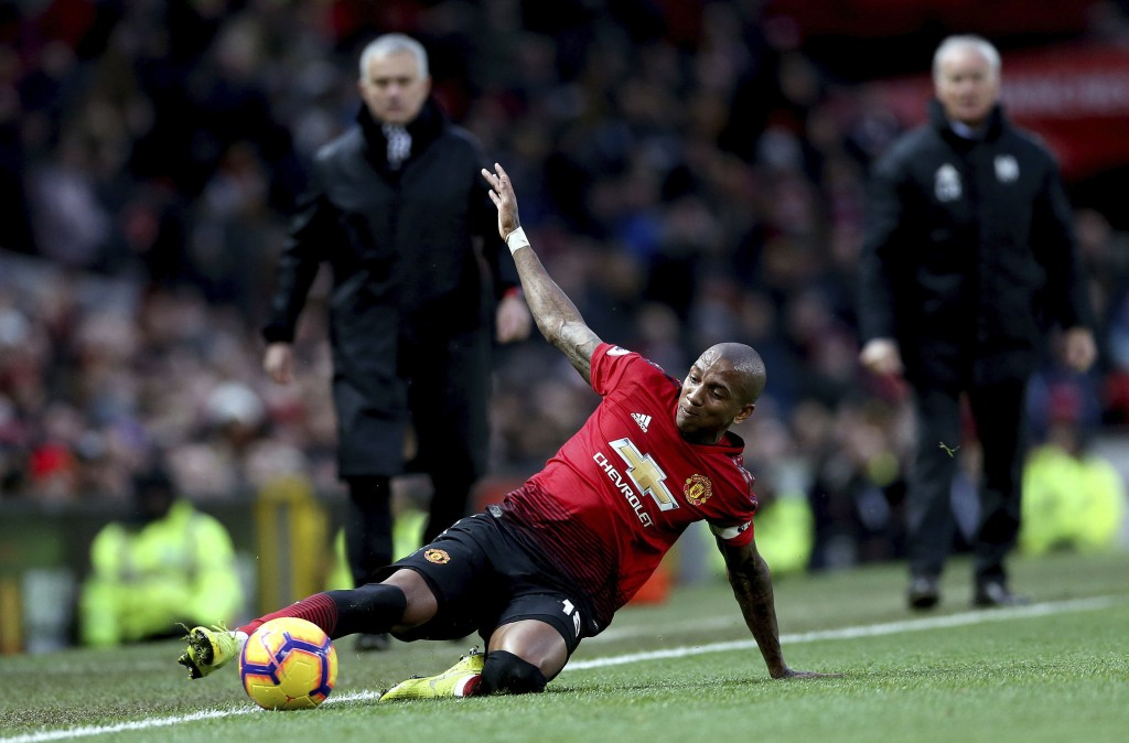 Manchester United's Ashley Young controls the ball, during the English Premier League soccer match between Manchester United and Fulham, at Old Traffo