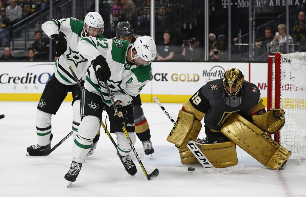 Dallas Stars right wing Alexander Radulov (47) tries to pass around Vegas Golden Knights goaltender Marc-Andre Fleury (29) during the third period of ...