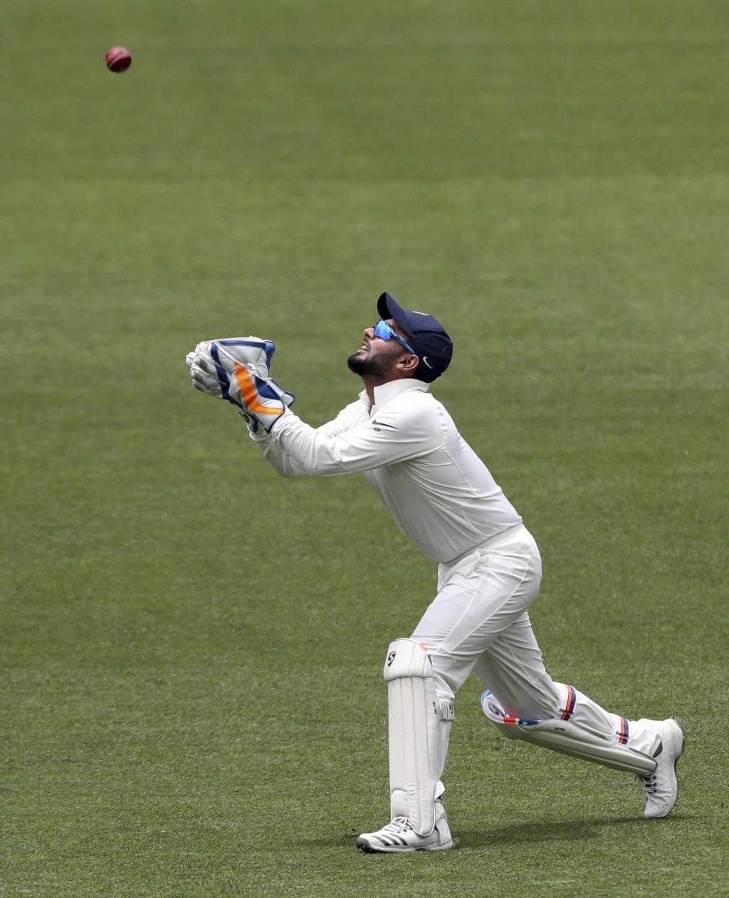 India's Rishabh Pant takes a catch to dismiss Australia's Tim Paine on the final day of the first cricket test between Australia and India in Adelaide...