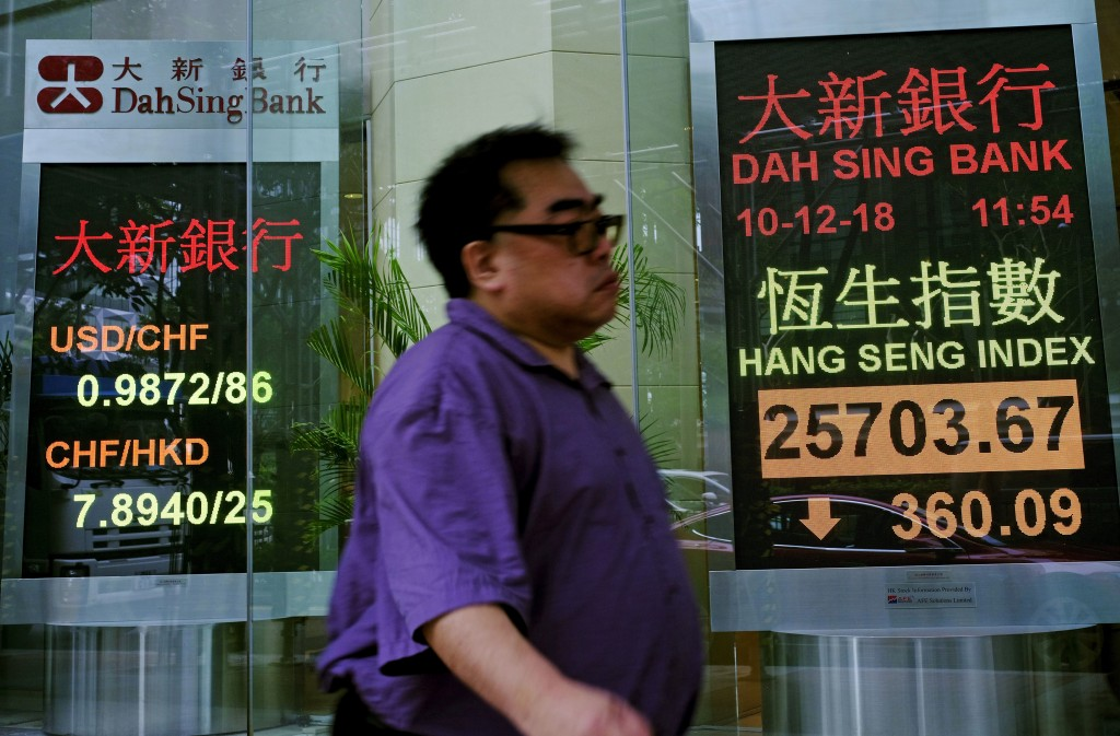 A man walks past an electronic board showing Hong Kong share index outside a local bank in Hong Kong, Monday, Dec. 10, 2018. Asian markets were broadl...