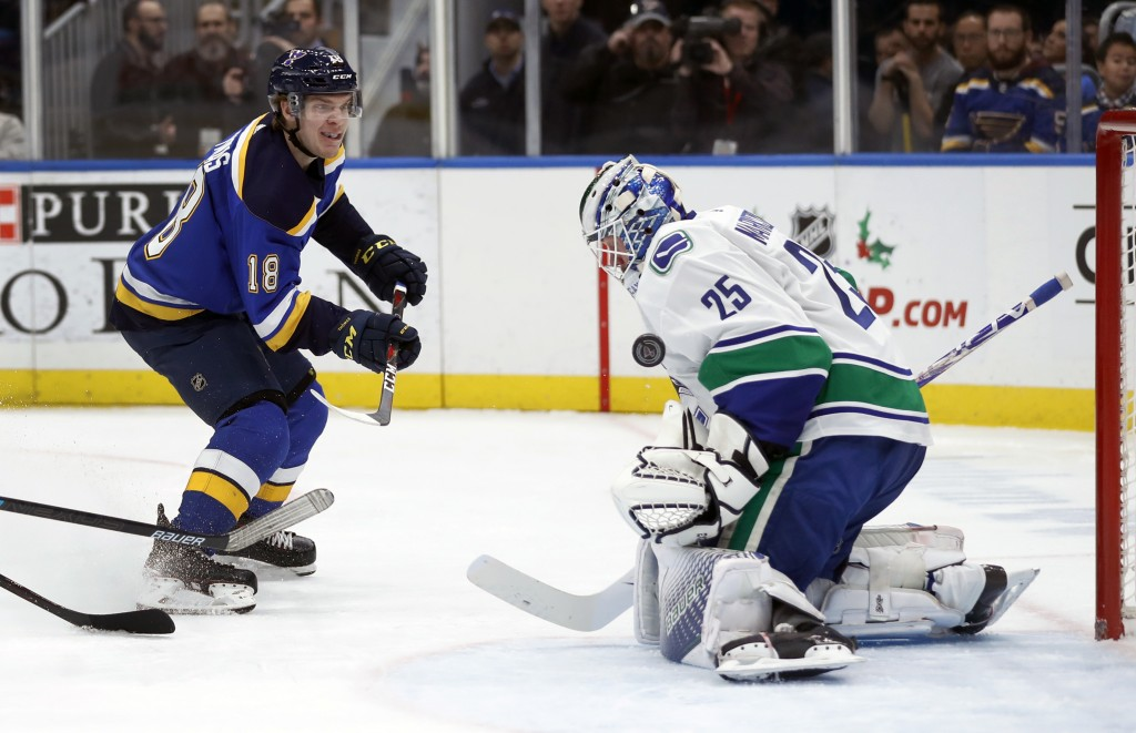 Vancouver Canucks goaltender Jacob Markstrom (25), of Sweden, deflects a shot from St. Louis Blues' Robert Thomas (18) during the second period of an