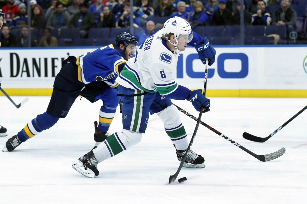 Vancouver Canucks' Brock Boeser, right, shoots to score as St. Louis Blues' Joel Edmundson defends during the first period of an NHL hockey game Sunda...