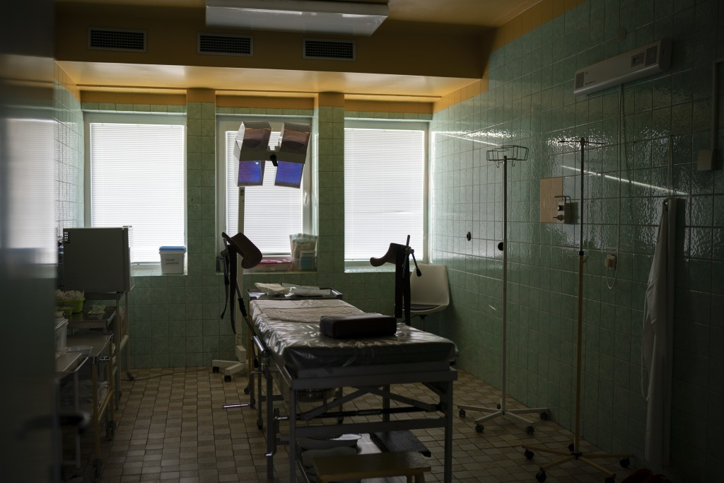 In this Nov. 15, 2018, photo, a delivery room sits empty in the Trebisov hospital in Trebisov, Slovakia. An investigation by The Associated Press has