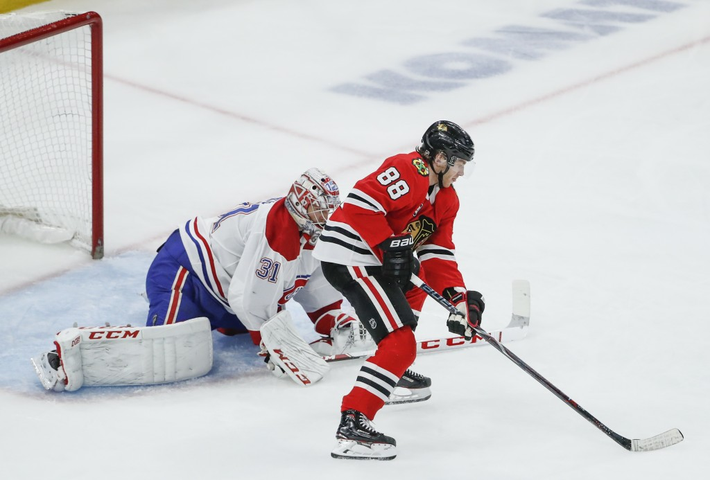 Chicago Blackhawks right wing Patrick Kane (88) looks to score against Montreal Canadiens goaltender Carey Price (31) during the third period of an NH...