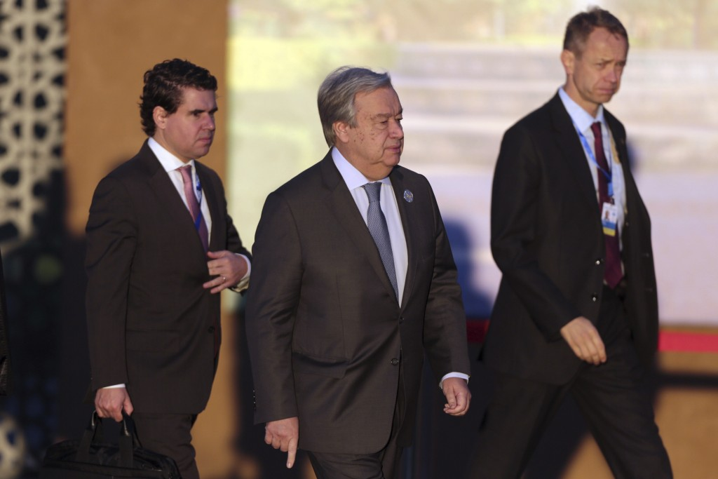 U.N. Secretary-General Antonio Guterres arrives to attend a UN Migration Conference in Marrakech, Morocco, Monday, Dec.10, 2018. Top U.N. officials an...