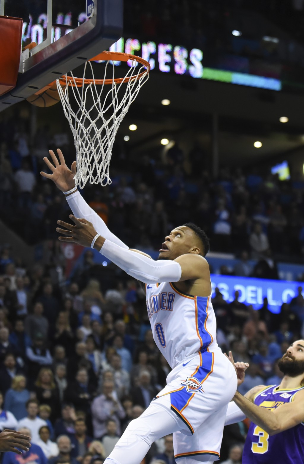Oklahoma City Thunder guard Russell Westbrook shoots in the first half of an NBA basketball game against the Utah Jazz in Oklahoma City, Monday, Dec. ...