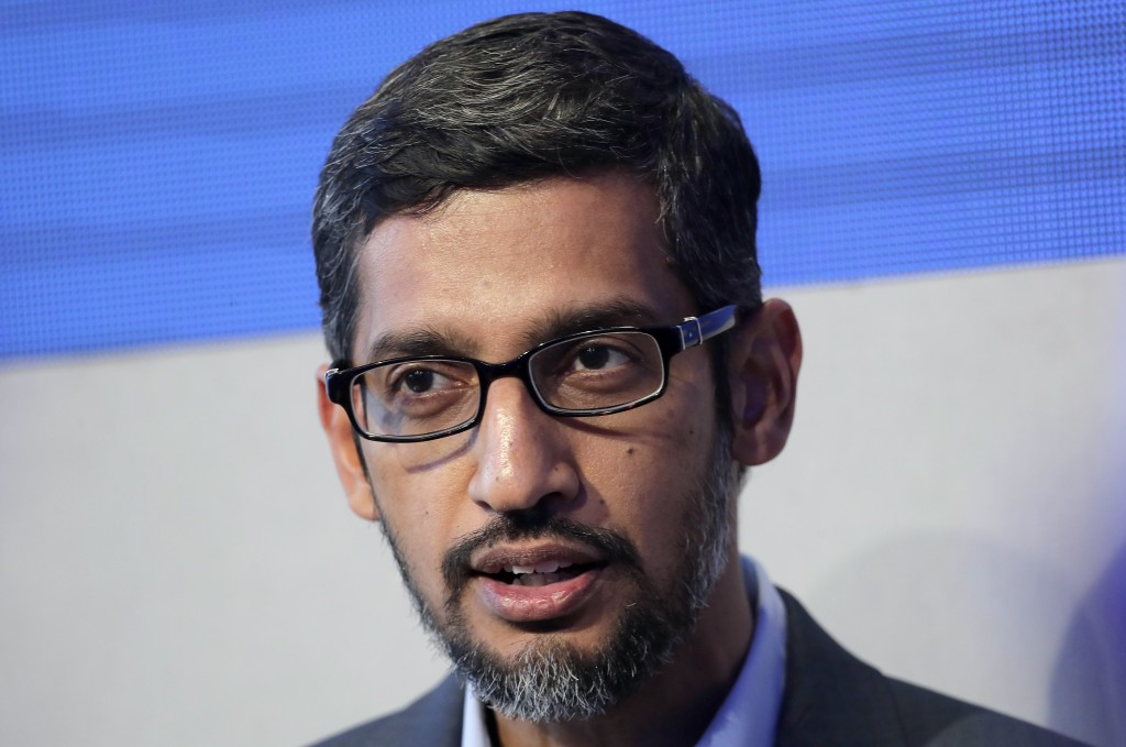 Google speaks during a conversation as part of the annual meeting of the World Economi