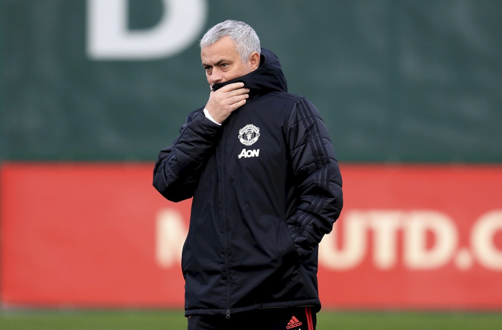 Manchester United's manager Jose Mourinho during the training session at the AON Training Complex in Manchester, England, Tuesday Dec. 11, 2018.  Man ...