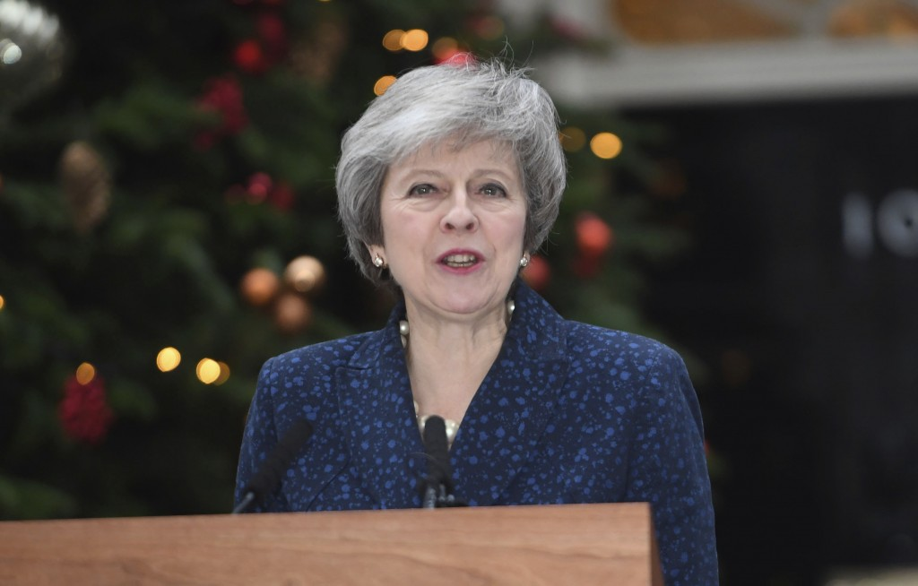 Britain's Prime Minister Theresa May makes a media statement in Downing Street, London, confirming there will be a vote of confidence in her leadershi