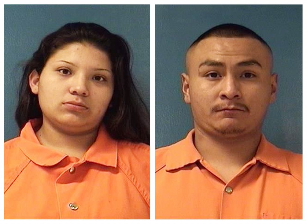 This combination of Saturday, Dec. 8, 2018 booking photos providing by McKinley County Adult Detention Center shows Shayanne Nelson, left, and Tyrell