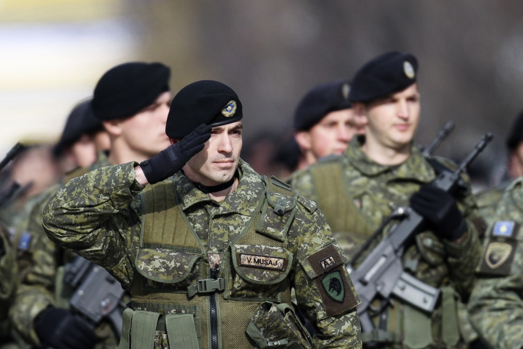 In this photo taken on Saturday, Feb. 18, 2017, members of Kosovo Security Force (KSF) parade marking the 10th anniversary of Kosovo's Independence, i...