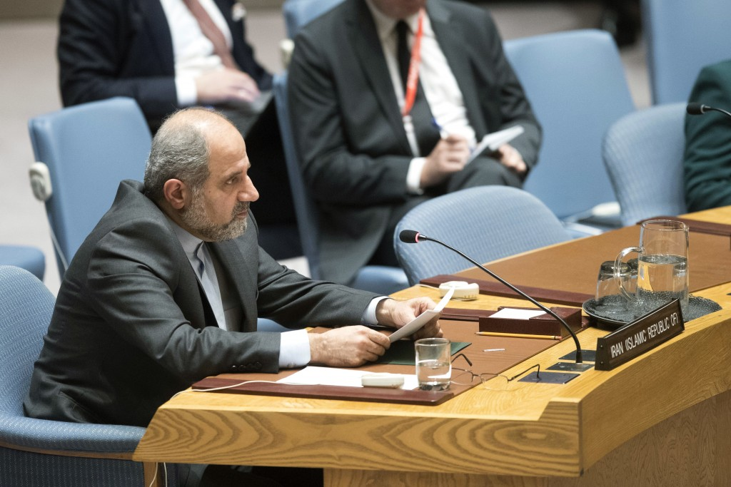 Iranian Deputy Ambassador to the United Nations Eshagh Al-Habib speaks during a Security Council meeting on Iran's compliance with the 2015 nuclear ag