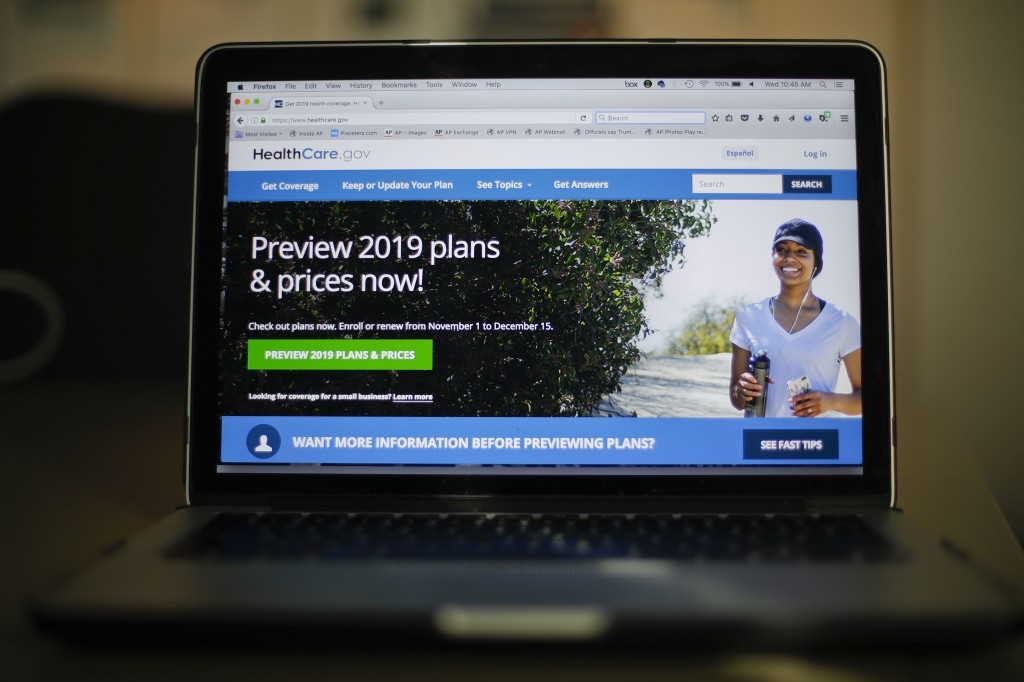 The HealthCare.gov website is photographed in Washington, Wednesday, Oct. 31, 2018. Health insurance sign-ups for the Affordable Care Act are down wit...