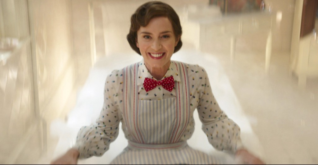 "This image released by Disney shows Emily Blunt as Mary Poppins in ""Mary Poppins Returns."" (Disney via AP)"