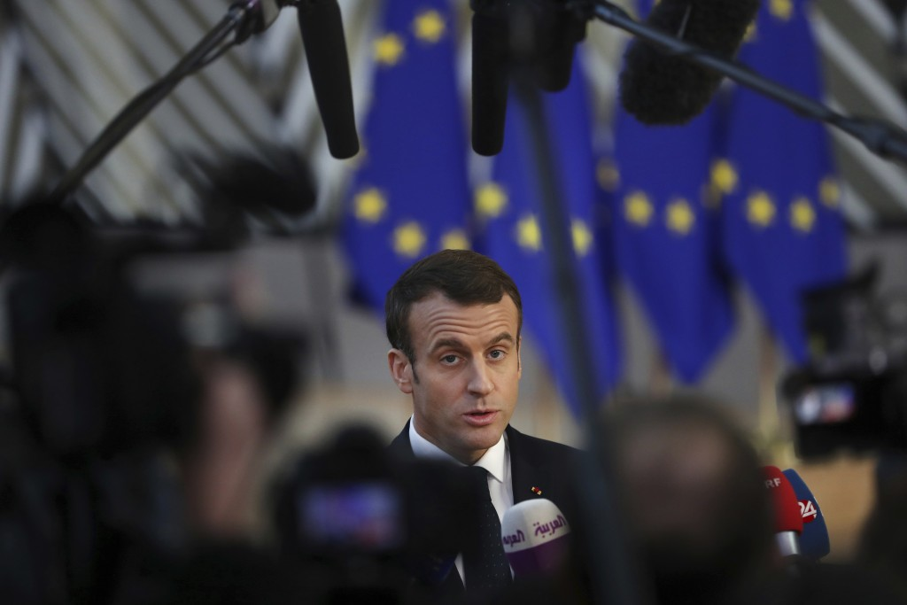 French President Emmanuel Macron arrives for an EU summit in Brussels, Thursday, Dec. 13, 2018. EU leaders gather Thursday for a two-day summit which