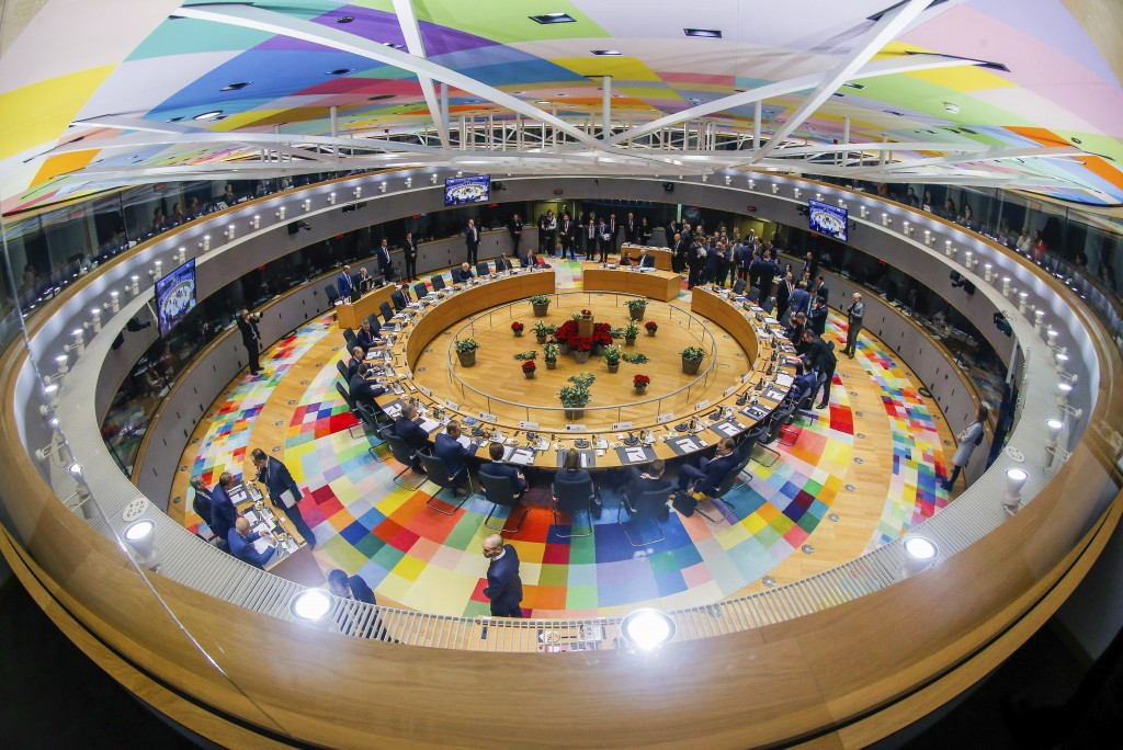 European Union leaders attend a round table meeting at an EU summit in Brussels, Friday, Dec. 14, 2018. European Union leaders have offered Theresa Ma