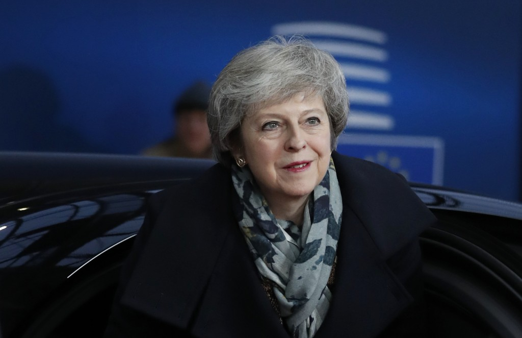 British Prime Minister Theresa May arrives for an EU summit in Brussels, Friday, Dec. 14, 2018. European Union leaders have offered Theresa May sympat