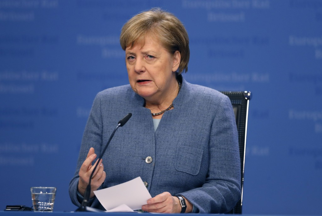 German Chancellor Angela Merkel speaks during a media conference at the conclusion of an EU summit in Brussels, Friday, Dec. 14, 2018. European Union ...