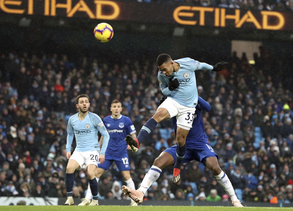 Manchester City's Gabriel Jesus scores his side's second goal of the game during the Englsih Premier League soccer match between Manchester City and E...
