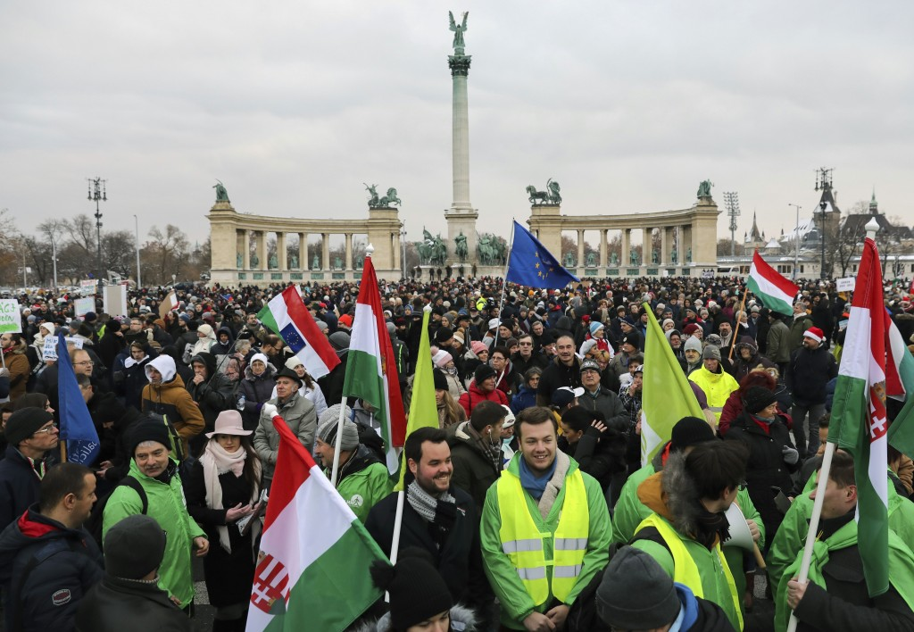Participants of the anti-government demonstration under the title Merry Christmas, Mr. Prime Minister gather in Heroes' Square in Budapest, Hungary, S...